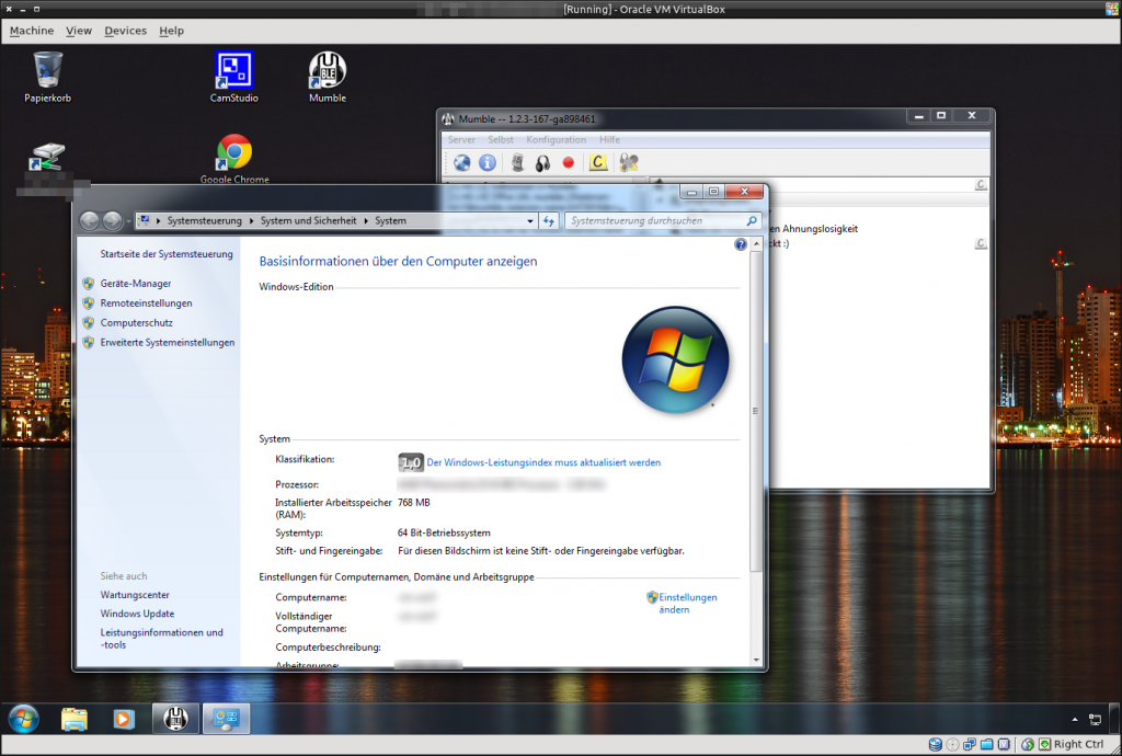 Win7 in VirtualBox mit Aero