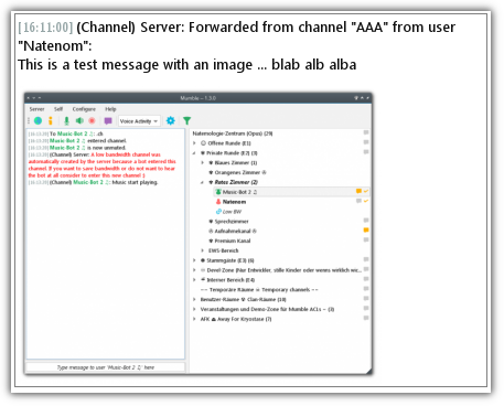 Forwarder Module for Mumble Moderator forwards user messages to all linked channels…