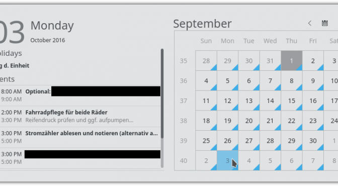 How to configure the clock/calendar widget of KDE/Plasma to display PIM events…